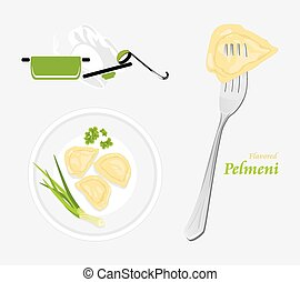Flavored pelmeni. Template for menu design. Vector...