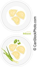 Flavored pelmeni on a plate. Vector illustration