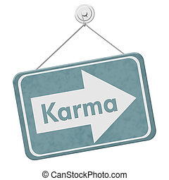 Karma Sign, A blue sign with the words Karma isolated on...