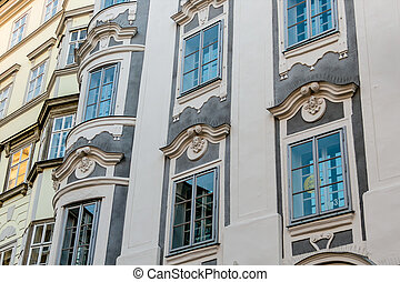 historic city facades - historic town house facades, symbol...