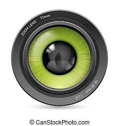 Camera lens - Isolated on white camera lens green eyes