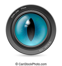 Camera lens - Isolated on white camera lens blue reptiles...