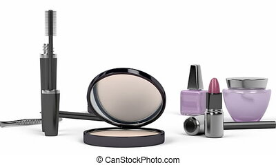 Makeup and cosmetic products - Makeup and cosmetic set with:...