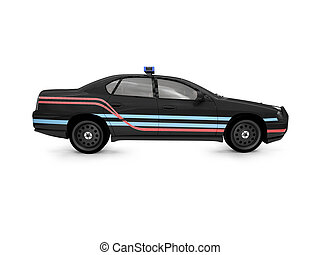 isolated black police car side view - isolated police car on...