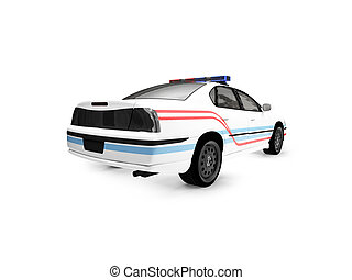 isolated police white car back view 02 - isolated police car...