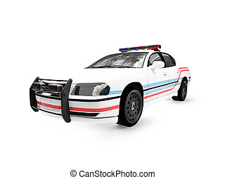 isolated police white car front view 01 - isolated police...