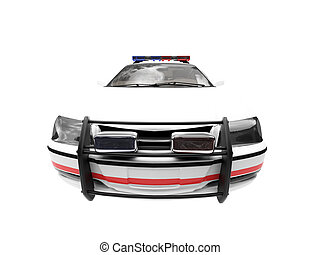 isolated police white car front view 02