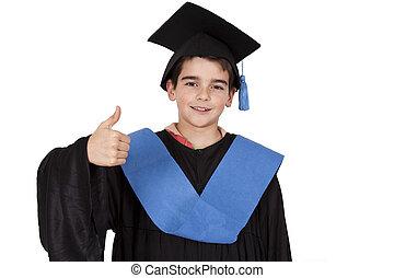 isolado, criança, roupas, graduação,