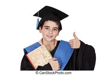 criança, isolado, graduação, roupas
