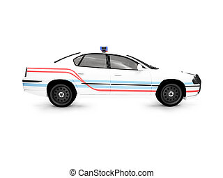 isolated police white car side view - isolated police car on...