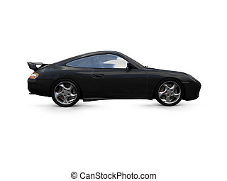 isolated black super car side view - isolated black car on a...
