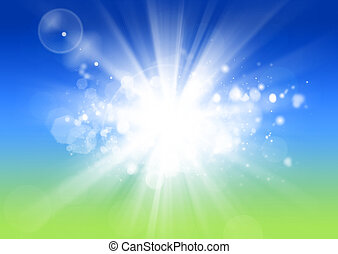 Sunshine Background - abstract bright light beam bokeh sunny...
