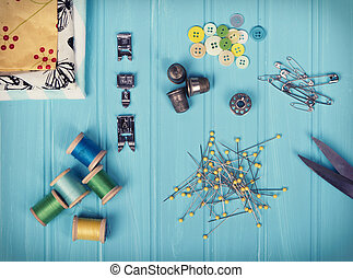 A collection of sewing items