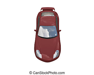 isolated red super car top view - isolated red supercar on a...