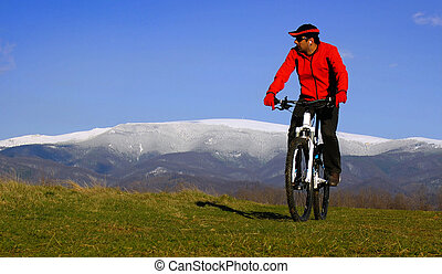 mountain biking, beautiful landscape background