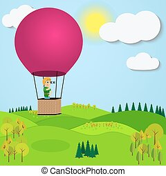 Man flying hot air balloon over the a mountain landscape