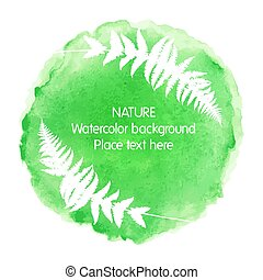 Green watercolour nature icon on white background with fern silhouette