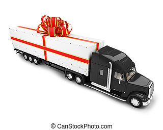 Present truck isolated front view - Big Gift car on white...