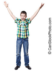 Happy little boy isolated on a white background