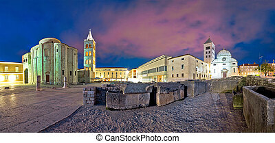 Zadar Forum square evening panorama with historic Roman...