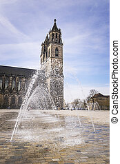 Cathedral Magdeburg with water fountain - Cathedral in...
