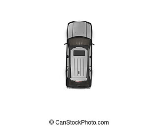 isolated black car top view - black car on a white...