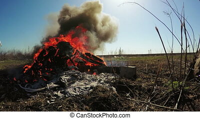 Waste incineration - Field forest near landing burn trash