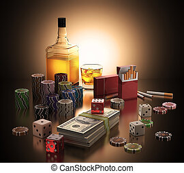 Addiction - Objects concepts of gambling addiction, drinking...