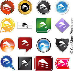 cake slice icon set isolated on a white background.