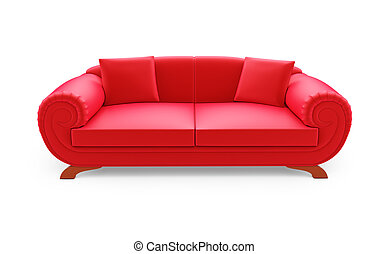 Red divan over white - isolated red sofa on a white...