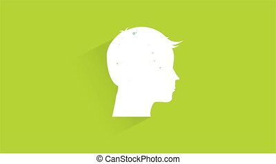 Thinking Video animation - Person profil with industry...