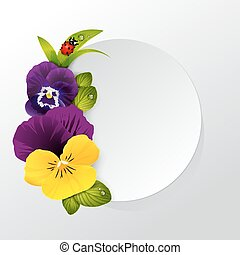 Frame of naturalistic pansy flower with leaves, grass and...