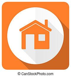 套間, 房子, 簽署, 橙, 家, 圖象