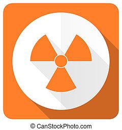radiation orange flat icon atom sign
