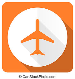 plane orange flat icon airport sign