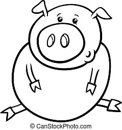 little pig or piglet coloring page - Black and White Cartoon...