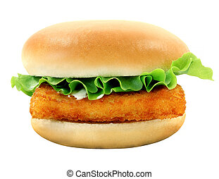 Burger with fish fillets