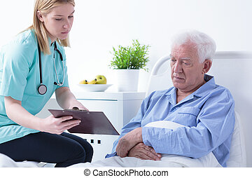 Doctor talking with patient about test results