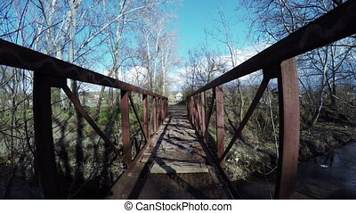 Bridge over river - Iron bridge over small river