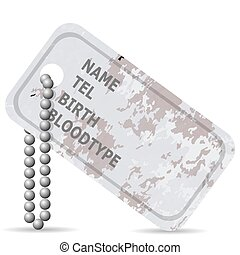 Military Dog Tag. - Military Dog Tag Isolated on White...