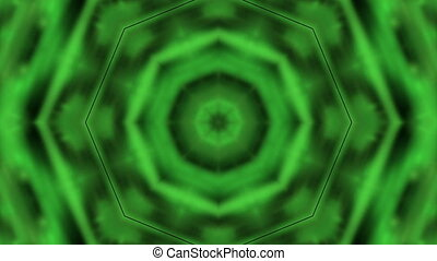 Bright green kaleidoscope on the black background
