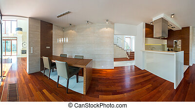 Kitchen and dining hall - Panoramic photo of modern kitchen...