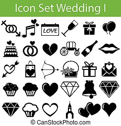Icon Set Wedding I with 30 icons for different purchase