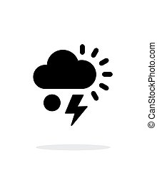 Hail with lightning weather simple icon on white background....