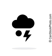 Hail with lightning weather simple icon on white background...