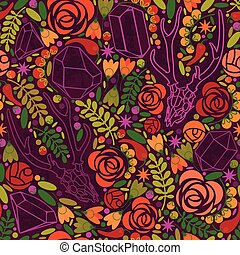 Retro background with crystals, roses and spices. - Abstract...