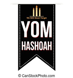 Jewish Yom HaShoah banner design over a white background,...