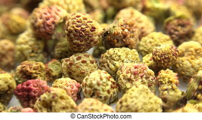 Background of dried strawberry Motorized Dolly Shot Macro
