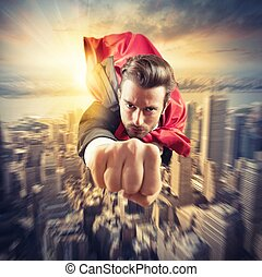 Superhero flies faster - Businessman superhero flies faster...