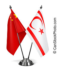 China and Turkish Republic Northern Cyprus - Miniature Flags...